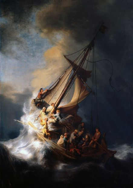 Rembrandt Harmensz van Rijn: Christ in the Storm on the Sea of Galilee, 1633.  (00178)